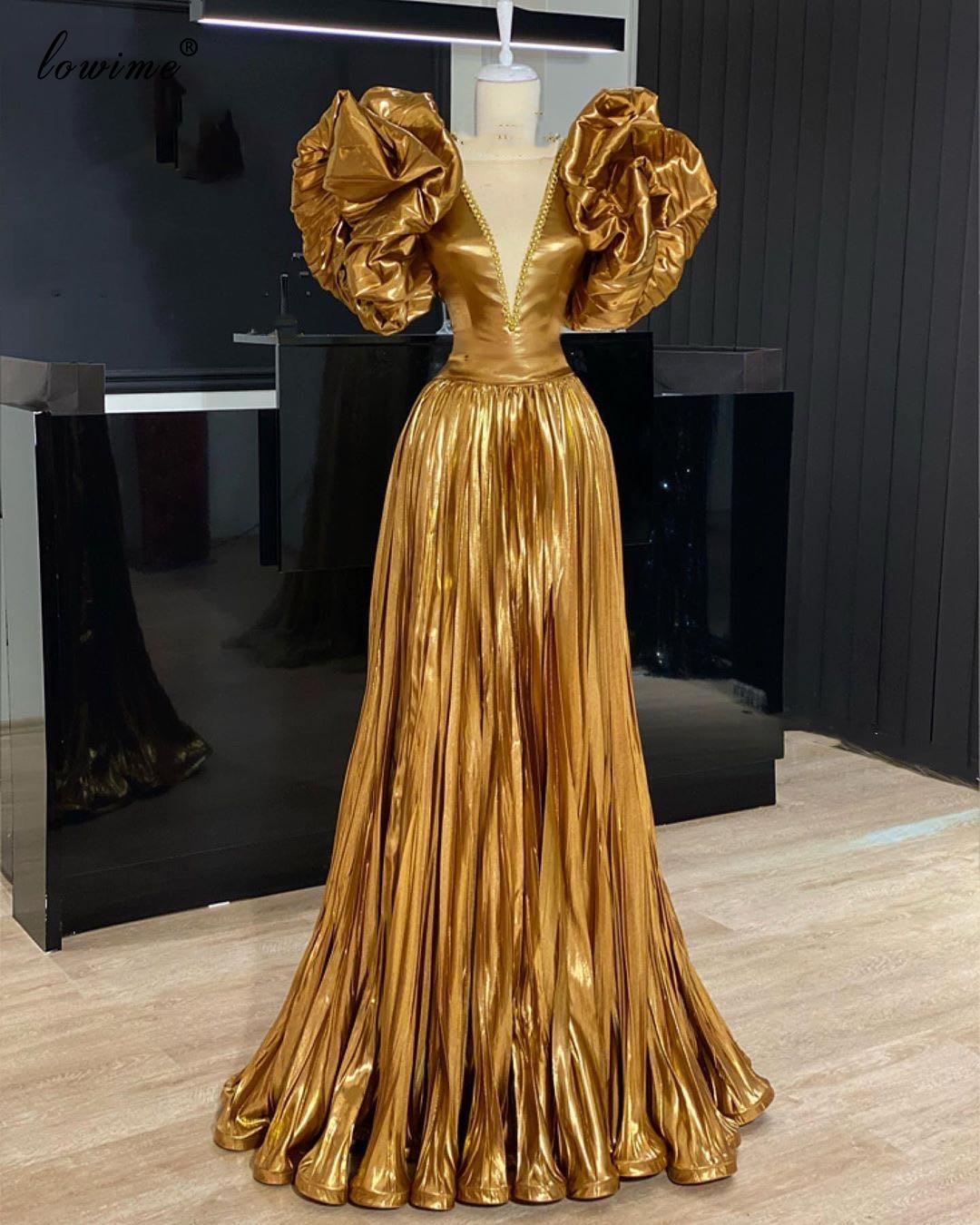 Robe Femme Gold Arabisch Prom Kleider Lange Dubai Vestidos De Fiesta Spezielle Design Abendkleider Frau Party Nacht Couture