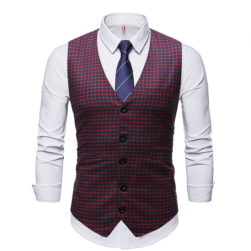 ZUSIGEL 2019 New Slim Fit Plaid Men Suit Vest Sleeveless Print Wedding Waistcoat Men Single Breasted Casual Mens Vest