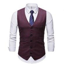 ZUSIGEL 2019 New Slim Fit Plaid Men Suit Vest Sleeveless Print Wedding Waistcoat Single Breasted Casual Mens