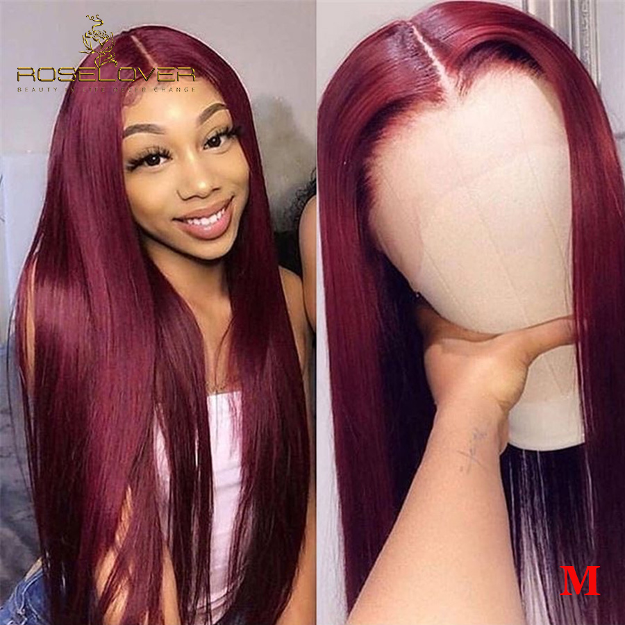 Pure 99J 13x6 Lace Front Human Hair Wigs Women Straight Burgundy Lace Front Wig Sensational Lace Tint Wigs Brazilian Hair Remy