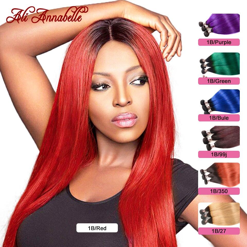 Cabelo humano brasileiro ombre feixes de cabelo reto 1b/roxo/azul/verde/vermelho/27/99j 2 tom escuro raízes remy extensões do cabelo humano