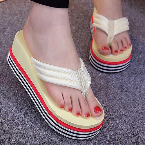 Kadın şerit topuk kama yaz sandalet Flip flop plaj ayak sonrası ayakkabı terlik kadın yaz kaymaz platform ayakkabılar сланцы 2020