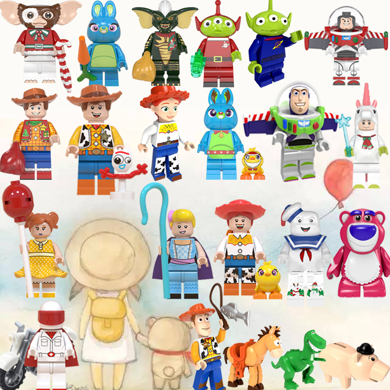 Legoed Toys Story 4 Buzz Lightyear Woody Jessie Alien Ducky Bo Peep Bonnie Duke Caboom Building Blocks Model Figures Movie Toy