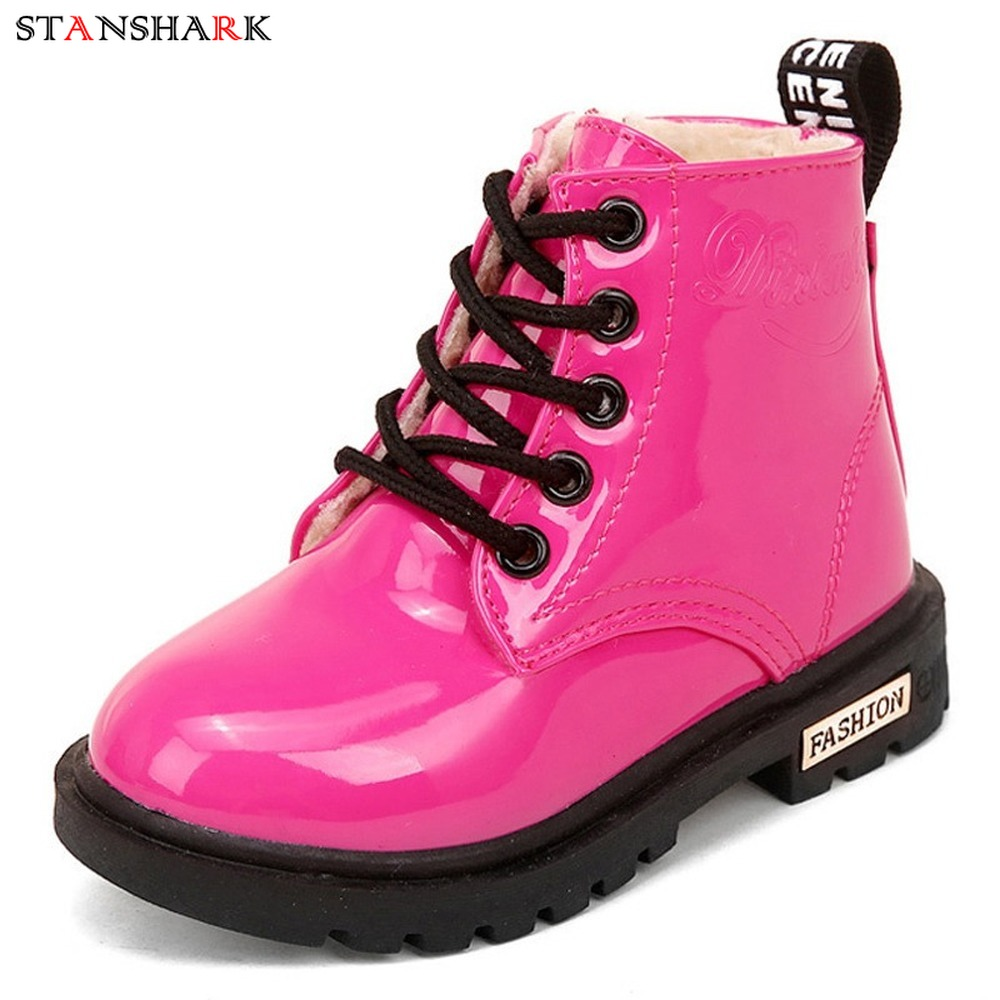 New Children Martin PU Leather Boots Winter Kids Snow Boots Brand Girls Princess Waterproof Motorcycle Boots Rubber Boots