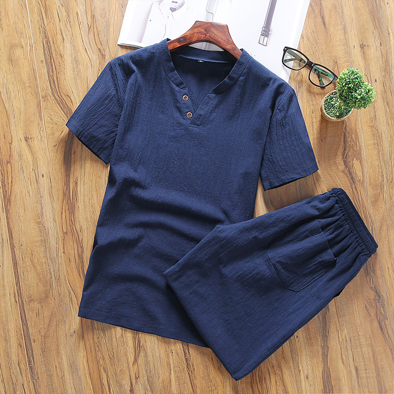 2019 Men Summer Classic Style Fashion Casual Loose-Fit Solid Color Cotton Linen Set V-neck Two-Button Short Sleeve T-shirt