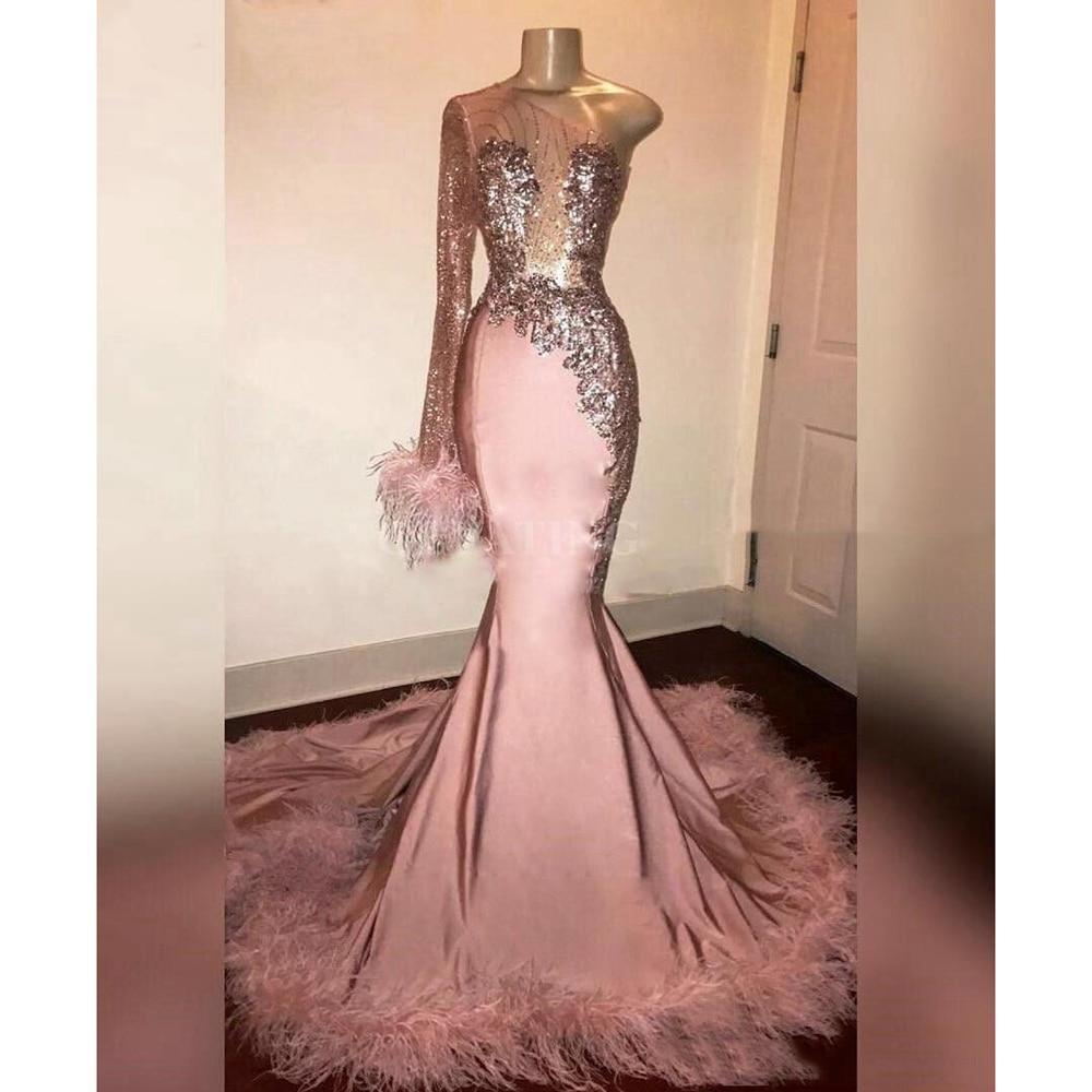 US $18.18 Rosa Eine Schulter Sexy Meerjungfrau Prom Kleider Lange 218218  Lange Ärmeln Federn Schwarz Mädchen Prom Kleider Perlen Afrikanischen Kleid