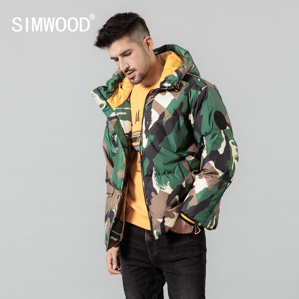 SIMWOOD Winter New 80% White Duck Down Coats Men Warm Camouflage Hooded Contrast Color Coat High Quality Brand Clothing SI980633