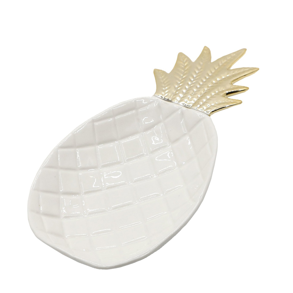 White Pineapple Shape Ceramic Dish Tray Holder Decor Organizer For Jewelry Ring Trinket Keys Fruit Dessert Plate Jewelry Tray