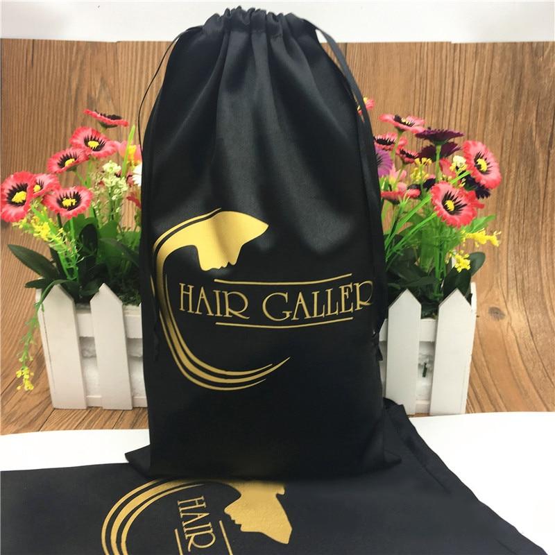 20PCS Luxury Hair Extension Wigs Packaging Bags Custom Logo Drawstring Gift Bag 13x18/15x20/18x30/30x40cm Silk Storage Bag