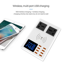 New 8 Ports QI wireless fast charger quick charge station led display mobile phone usb charger for iphone 6 7 8 xiaomi huawei