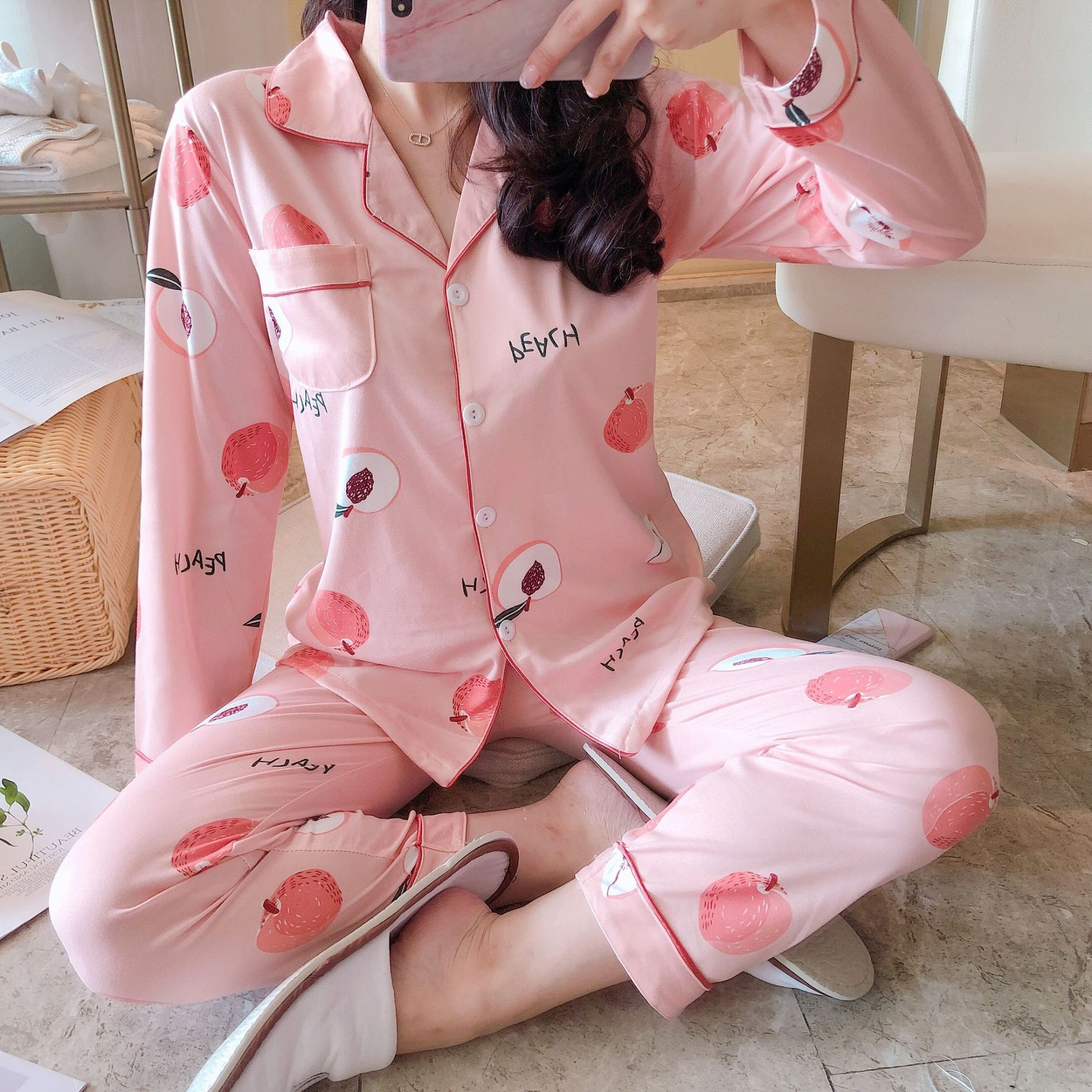 Elegant Fashionable Thick Warm 100% Cotton Women Pajamas Set Winter Loose Cartoon Print Sleepwear for Women Long Woman Pant+ Top 32