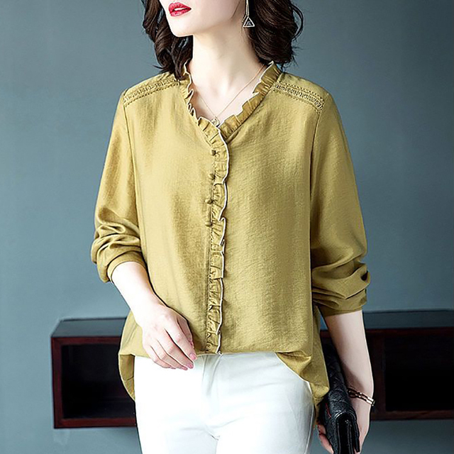 Women Spring Autumn Style Blouses Shirts Lady Casual V-Neck Long Sleeve Loose Style Blusas Tops DD8853 3
