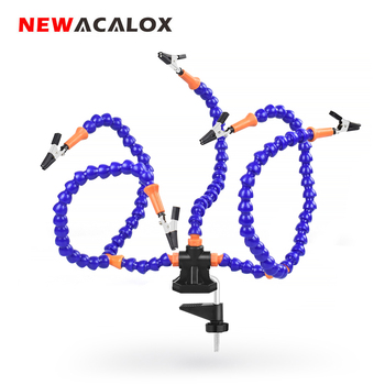NEWACALOX Third Hand 3X USB Magnifier LED Light Table Clamp 5pc Flexible Arms Soldeirng Iron Holder PCB Welding Repair Tool