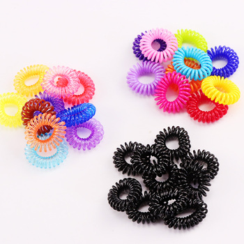 10PCS/Lot New 2cm Small Telephone Line Hair Ropes Girls Colorful Elastic Hair Bands Kid Ponytail Holder Tie Gum Hair Accessories image