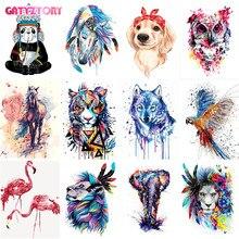 GATYZTORY diy yağlıboya renkli hayvanlar boyama by numbers çerçeve ile yetişkinler için akrilik boya kitleri resimleri by numbers yatak odası için