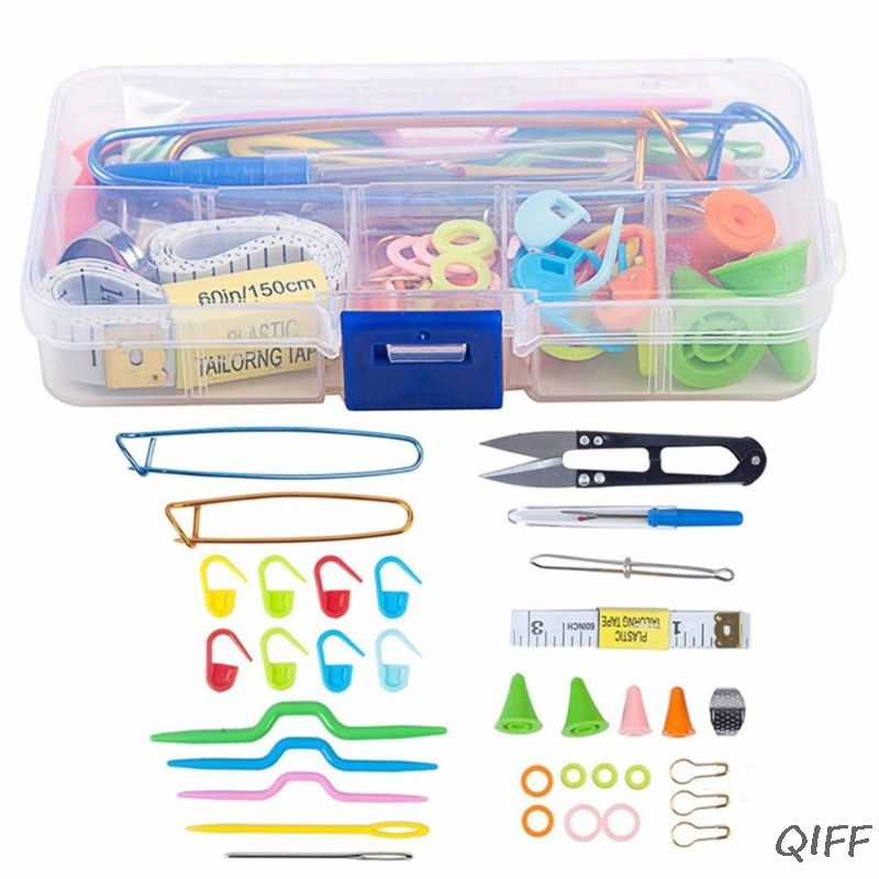 DIY Craft Knitting Needles Tools Set Crochet Hooks Clip Stitch Markers Scissors