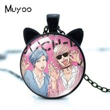 2021 New Arrival Anime Yarichin Bitch-bu Club Ayato Yuri YUI TAMURA Handmade Round Glass Dome Pendant with Cat Ears Necklaces