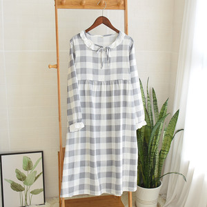 Image 3 - Womens New Double Layer Gauze Nightdress Spring Long Sleeve Simple Plaid Nightgown Plus Size Sleepwear Cotton Sleeping Dress