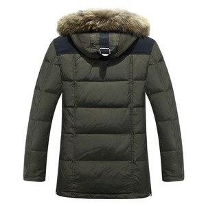 Image 4 -  40 graden Koud Slip Rusland Winter Jas Heren Top Kwaliteit Echt Bontkraag Dikke Warme Witte Eendendons Mannens Winter Jas