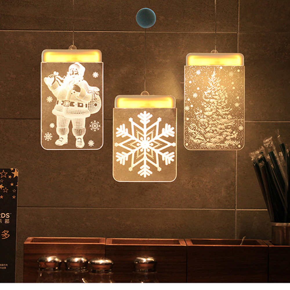 3D Hanging Night Light Christmas LED Fairy Lights Acrylic Warm 3D Holiday Santa Window Lamp Showcase Decoration