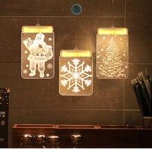 3D Hanging Night Light Showcase Decoration Christmas LED Fairy Lights Acrylic Warm Holiday Santa Window Lamp