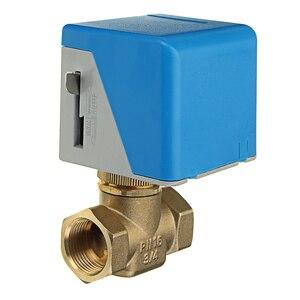"""Image 1 - 3/4 """"robinets darrêt en laiton électriques motorisés 2 fils ca 220V femelle vanne darrêt bidirectionnelle"""