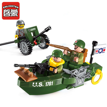 цена на 1701 ENLIGHTEN US Landing Craft Model Building Blocks Action Figure Bricks Toys For Children Christmas Gift Legoingly Friend