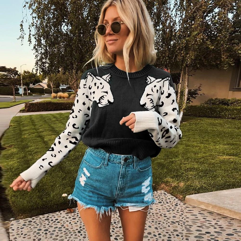 Tide Autumn Women Contrast Color Mosaic Leopard Pattern Sweater Animal Leopard O-Neck Casual Knitted Pullovers