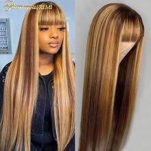 Brasileiro em linha reta completa máquina feita perucas de cabelo humano com franja mel loira destaque cabelo reto perucas remy densidade do cabelo 150