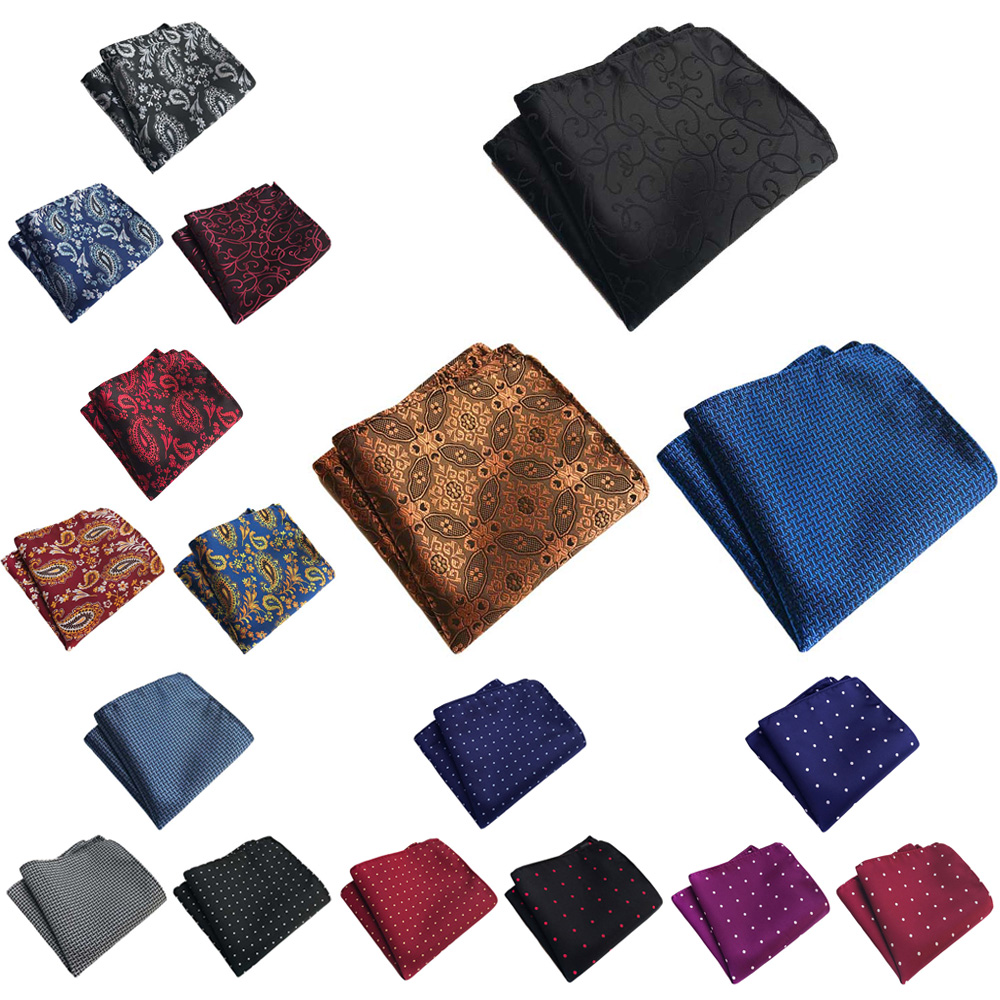 3 Packs Men Polka Dots Paisley Pocket Square Handkerchief Wedding Party Hanky