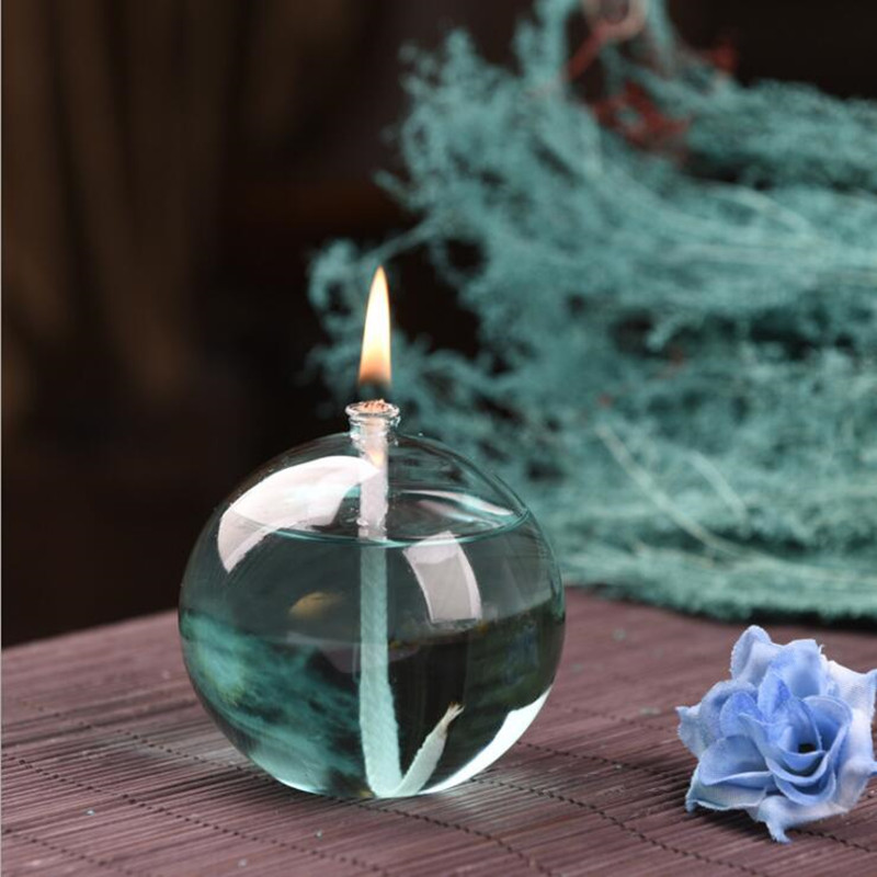Ball Shaped Glass Oil Lamp Wedding Decoration Glass Love Handcraft Glass Oil Lamp Friend Gift Glass Candle Holder