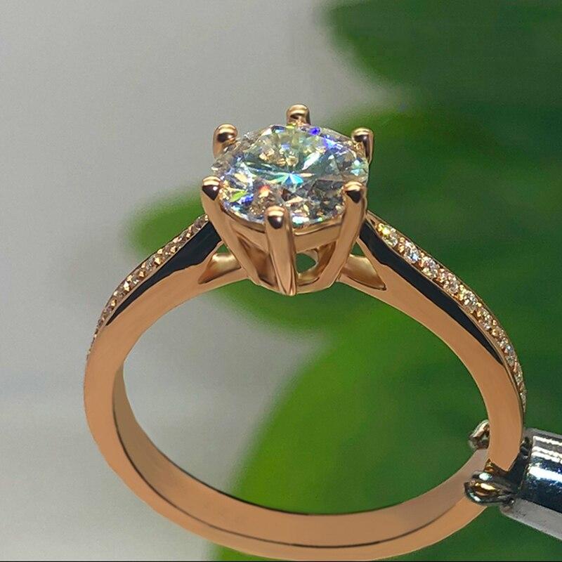 14K or Rose Moissanite anneau 1ct 2ct 3ct excellente coupe vvs moissanite bijoux à la mode mariage Engagemen anniversaire anneau - 3