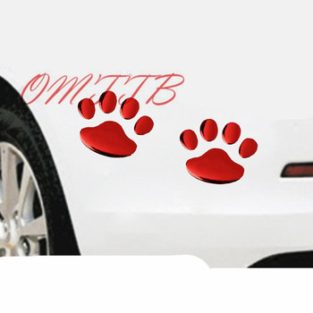 Car Styling 3D Chrome Funny Bear Paw Pet Animal Footprints Cute Feet Sticker on Car Automobile Decals emblem badge logo decor image