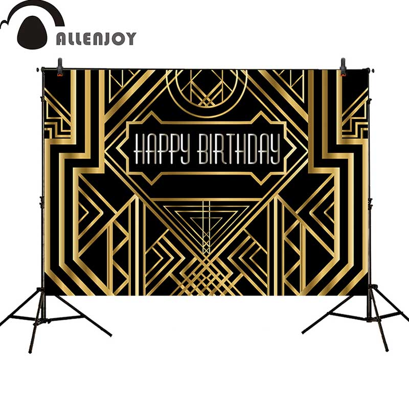 Image 3 - Allenjoy Great Gatsby Background Vintage Car Lady Happy Birthday Backdrop Photozone Golden Luxurious Adult Event Party BannerParty Backdrops   -