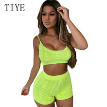 TIYE Spaghetti Strap Backless Elastic Bodycon 2 Pieces Sets Knitting Short Rompers Women Hollow Out Sleeveless Summer Playsuits цены