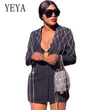 цена YEYA Fashion Women Casual Suit Business Blazer Long Sleeve Tassel Jacket Outwear Ladies Black Blazer Coat with Fringe Blazer