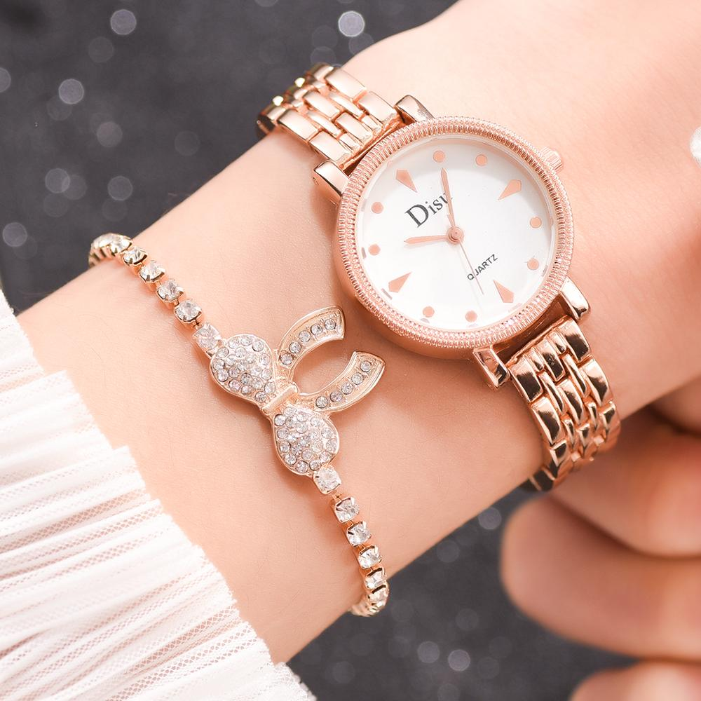Top Brand 2pcs Luxury Bracelet Watches Set For Women Fashion Diamond Bangle Quartz Clock Ladies Wrist Watch New Relogio Feminino