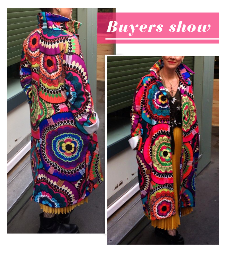 Image 2 - female long coat fashion color matching 2019 new spring and 