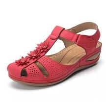Sandalias Vintage de cuero de verano para mujer, zapatos de mujer con costura informal y hebilla, Sandalias Retro con plataforma para mujer