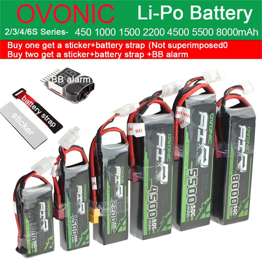 Ovonic  Li-Po Battery 2S 3S 4S 6S 450mAh 1000mAh 2200mAh 4500mAh 5500mAh 8000mAh 25C 50C RC Fixed Wing Helicopter Racing Drone