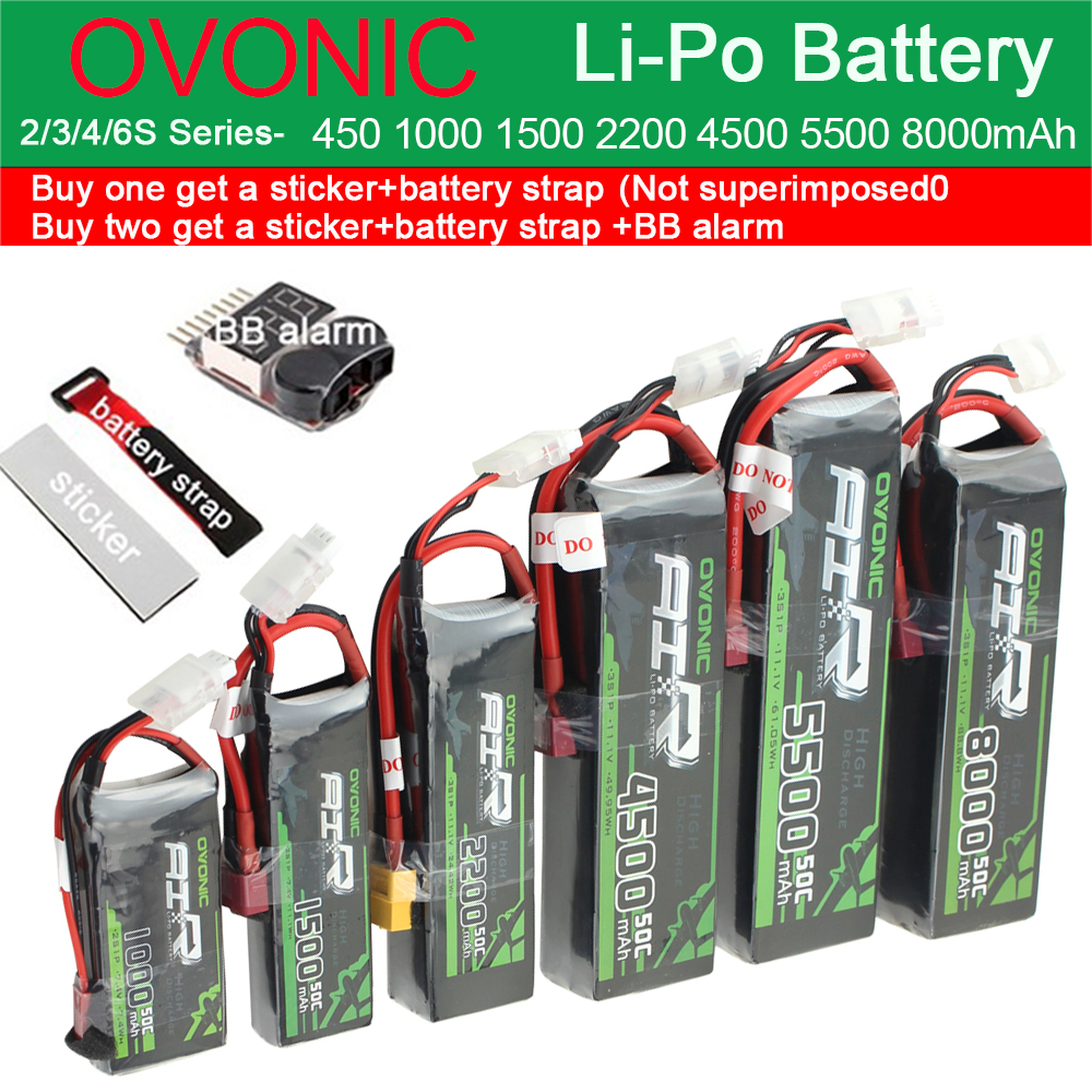 Ovonic Li-Po Battery 2S 3S 4S <font><b>6S</b></font> 450mAh 1000mAh <font><b>2200mAh</b></font> 4500mAh 5500mAh 8000mAh 25C 50C RC Fixed Wing Helicopter Racing Drone image