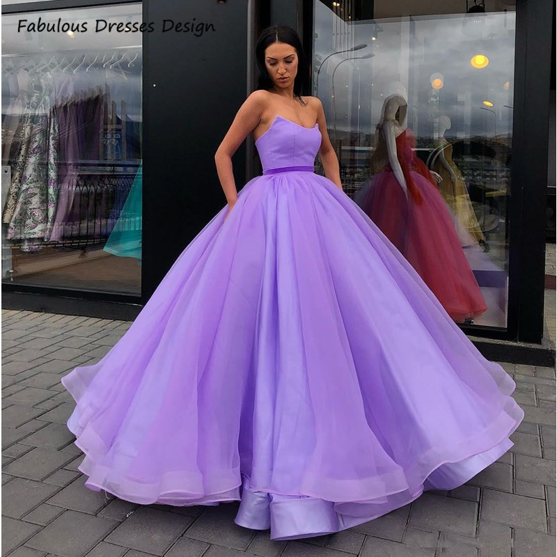 Lilac Strapless Quinceanera Dresses Long Backless 2021 Sweet 16 Dress Pageant For Women Puffy Ball Gown Cheap Customize платье