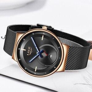 Image 4 - LIGE женские модные часы, креативные Женские повседневные часы из нержавеющей стали с сетчатым ремешком, стильные дизайнерские Роскошные Кварцевые часы для женщин 2020