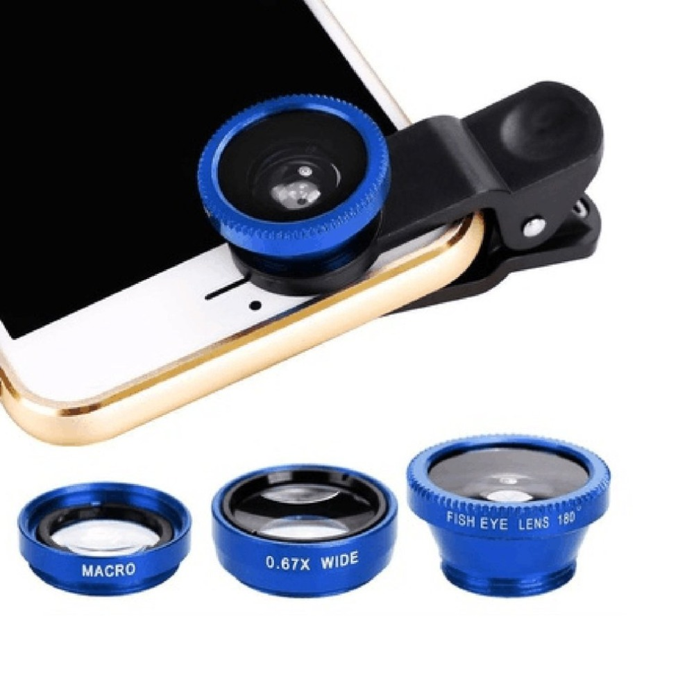3-in-1 Wide Angle Macro Fisheye Phone Camera Lenses With Clip for iPhone Samsung All Cell Phones 13