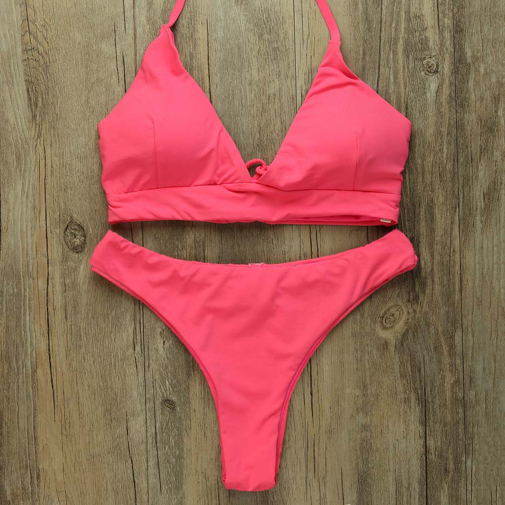 Sexy Thong Bikinis Women 2019 Brazilian Swimsuit Solid Bathing Suit Strape Push Up Swimwear Female Mayo Beach Bathers 5