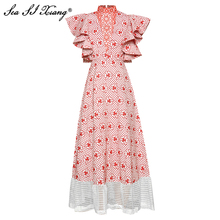 Seasixiang Fashion Designer Summer Dress Women Stand Collar  Butterfly Sleeve Floral Embroidery Hollow Out Long Dresses
