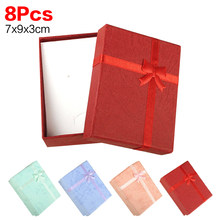 2020 New 8pcs/lot 9*7*3cm jewerly ring earring bracelet gift purple box square carton bow case red blue pink package(China)