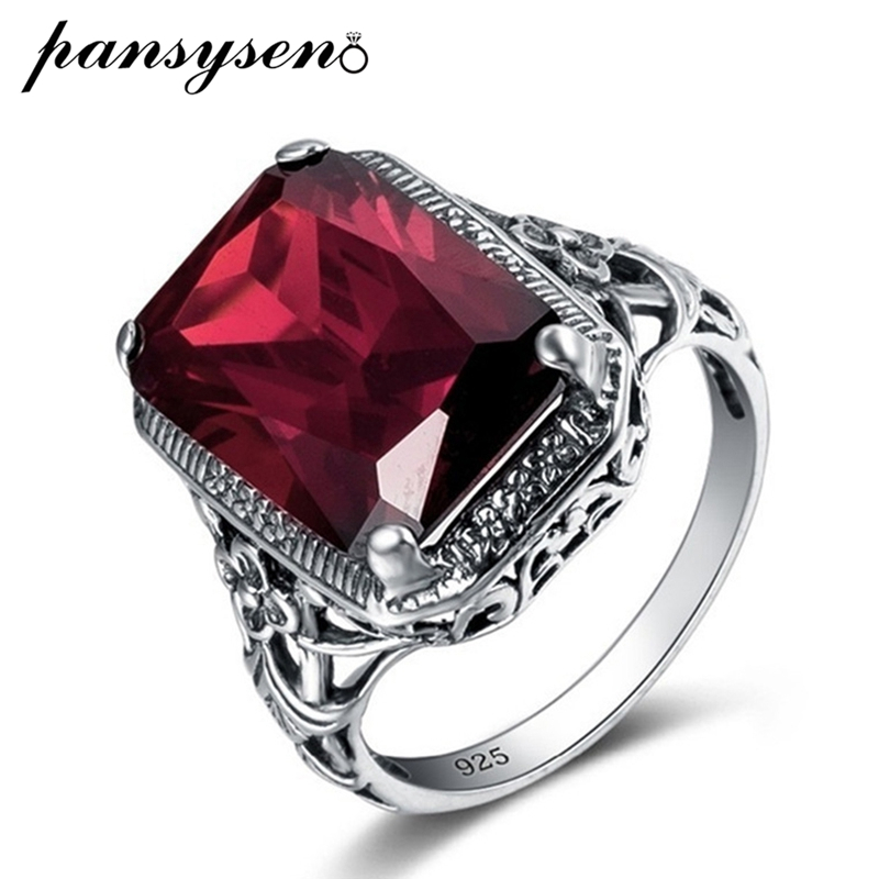PANSYSEN Vintage Red Ruby Gemstone Rings For Women Fashion Silver 925 Jewlery Ring Wholesale Party Anniversary Fine Jewlery Gift