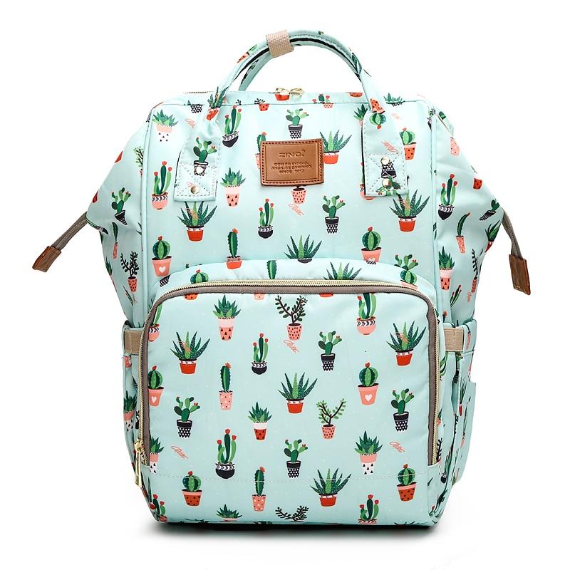Cactus Printed Mummy Bags Fox Printed Travel Backpack Large Cartoon Maternity Diaper Bags Nursing Bag For Baby Care
