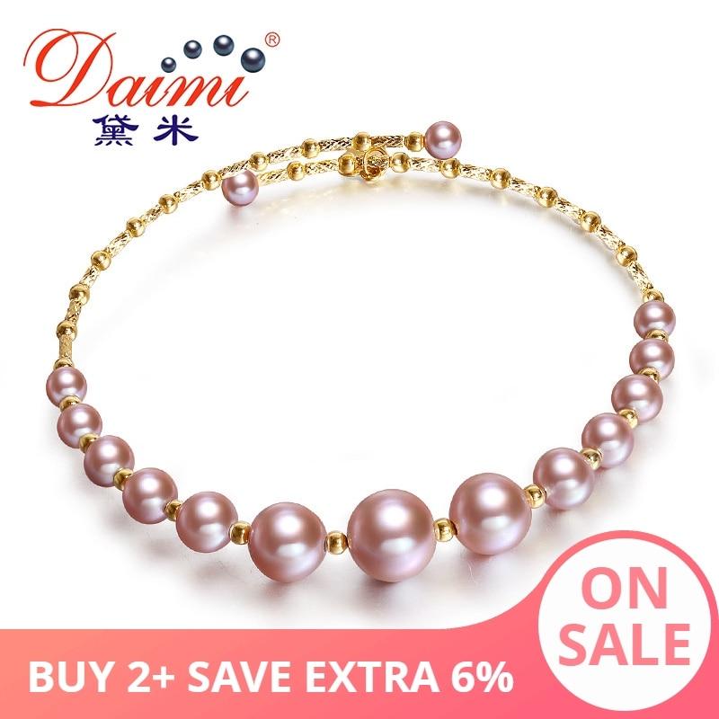 DAIMI fioletowy serii bransoletki 3.5 7.5mm elastyczna perła bransoletki 18K złoto prawdziwej bransoletki biżuteria G w Bransoletki i obręcze od Biżuteria i akcesoria na  Grupa 1
